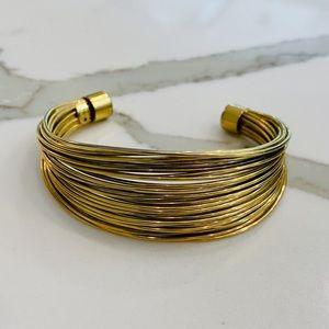 Vtg Celebrity NY Gold Tone Cuff Bracelet